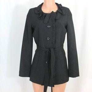 Lapis Medium Black Button Front Jacket Ruffle Neck
